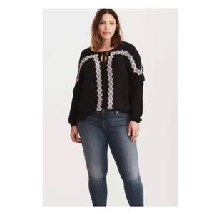 Torrid Black Boho Peasant Top